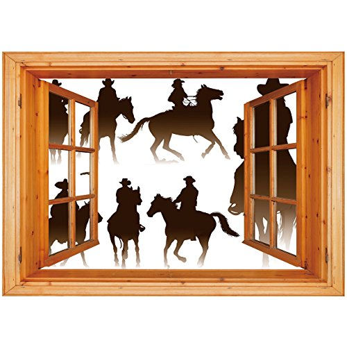 3D Depth Illusion Vinyl Wall Decal Sticker [ Western,Collection of Horseback Riding Silhouettes Bridle Ranch Stallion Equestrian Theme Decorative,Dark Brown ] Window Frame Style Home Decor Art Removab - Stallion Collection