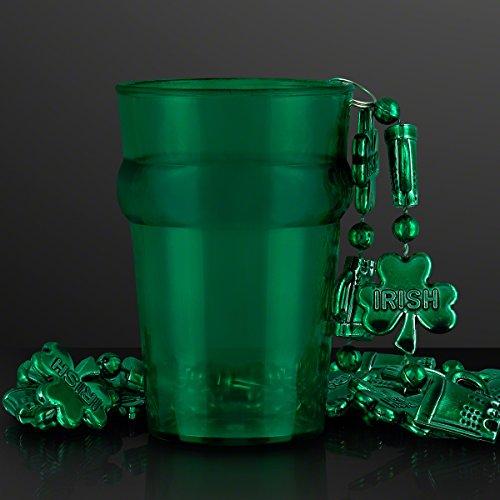 (Green Shot Glass Pint with Irish Shamrock Mardi Gras Beads (Set of 12))