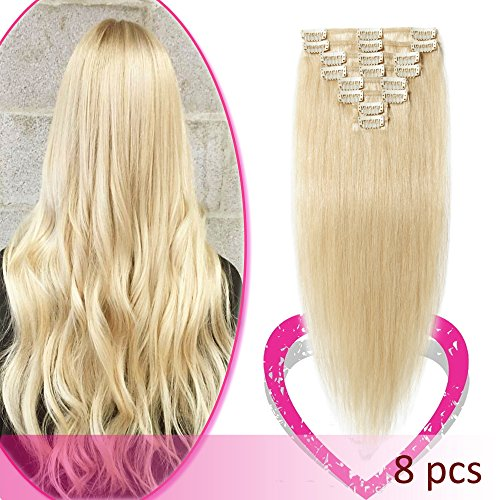 Remy Clip in Hair Extensions 100% Human Hair 22 Inch 80g Sta
