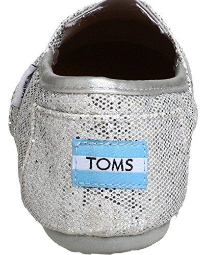 Toms Classic Silver Glitter Donna Canvas Espadrillas Scarpe Slipons