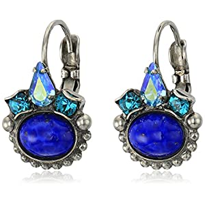 Sorrelli Petite Oval Semi-Precious French Wire Earrings, Antique Silver-Tone Finish, Electric Blue