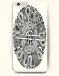 SevenArc Apple iPhone 6 Plus 5.5' 5.5 Inches Case Moroccan Pattern ( Black and White Subtle Swirls )