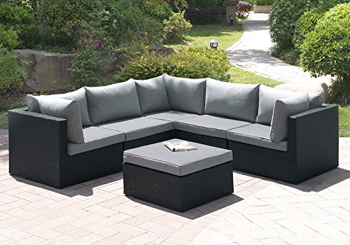 1perfectchoice 6 pcs outdoor patio pool l shaped sectional sofa set ottoman black rattan wicker. Black Bedroom Furniture Sets. Home Design Ideas
