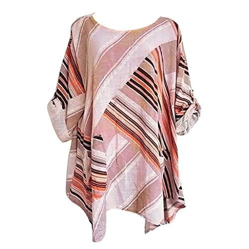 Amlaiworld Women Plus Size Blouse Cotton Linen Tee Shirt Short Sleeve O-Neck Stripe Printing T-Shirts Tops Seatshirt Pink ()