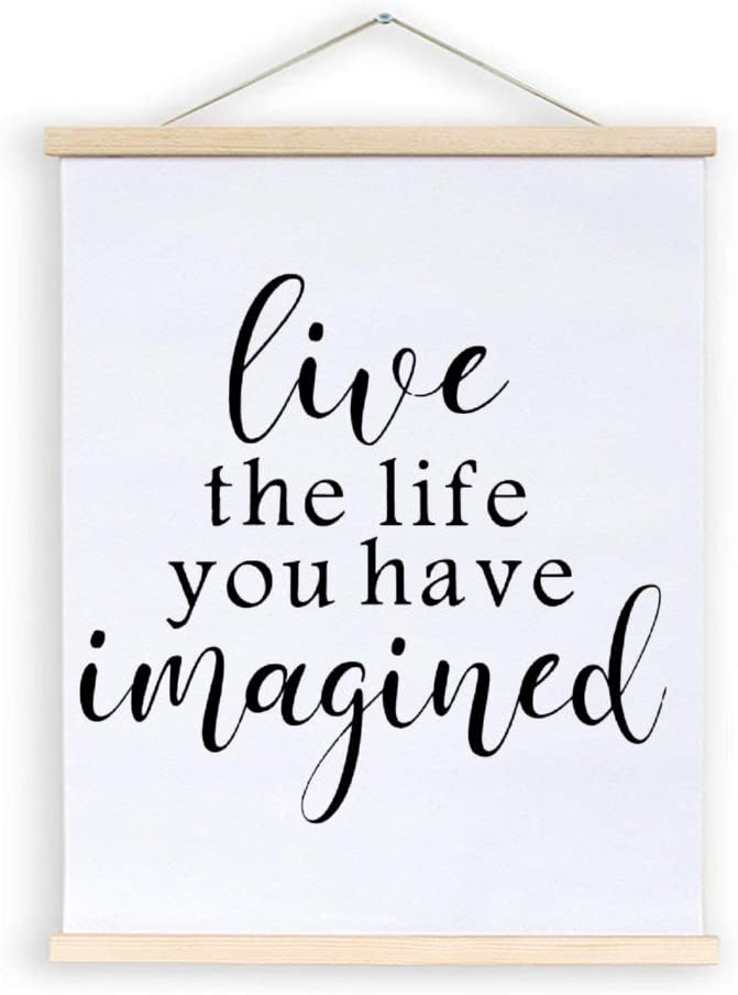EricauBird Live The Life You Have Imagined Hanging Canvas Sign, Inspirational Poster Frame, Decorative Home Wall Art, Wood Sign for Home Wedding Party Farmhouse, Personalized Housewarming Gift, 20x24
