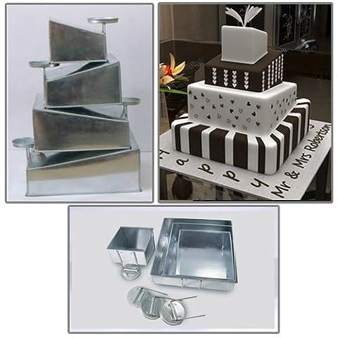 Euro Tins multi layer cake pans Topsy Turvy Square 4 tier wedding cake pan - (Torta Di Quattro Strati)