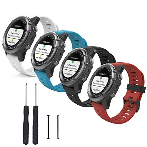 Betterconn Soft Silicone Replacement Watch Band Stap Wristband for Garmin Fenix 3 / Fenix 3 HR Fenix 5X Smart Watch, with Tools and Pin,4PACK-A