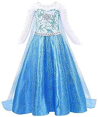 Bascolor Disfraz Elsa Frozen Niña Princesa Elsa Frozen Vestido Traje Princesa Elsa para Halloween Cosplay Fiesta