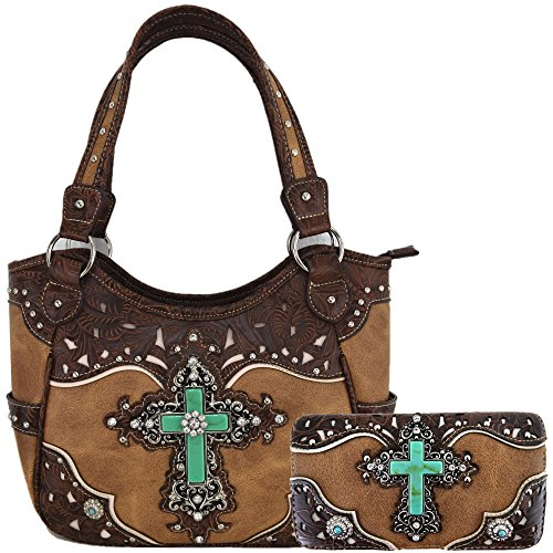 Western Rhinestone Cross Tooled Leather Totes Concealed Carry Purse Handbag Women Shoulder Bag Wallet Set (Tan Set)
