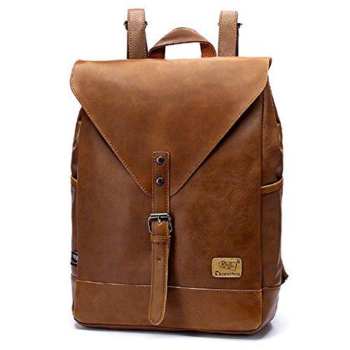 Retro PU-Leder Vintage Rucksack Wanderrucksack Hiking Backpack Damen Herren Schultertasche PU Rucksack Für Camping Reise und iPhone, iPad und Samsung Tablet drei Farbe (Braun)