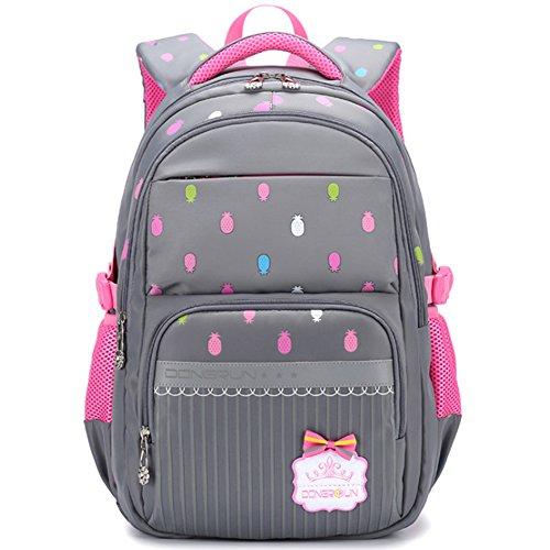 Uniuooi Primary School Bag Backpack for Girls 7-12 Years Old Waterproof  Nylon Kids Schoolbag Laptop Bag Travel Rucksack (Grey) - Buy Online in Oman. 026f660034efe