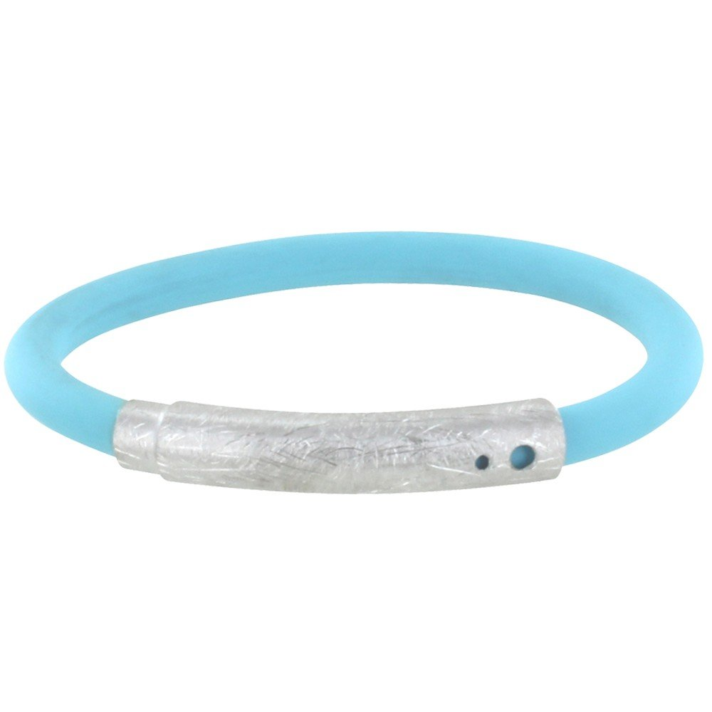 Les Poulettes Jewels - Brushed Silver Bracelet and Turquoise Silicone