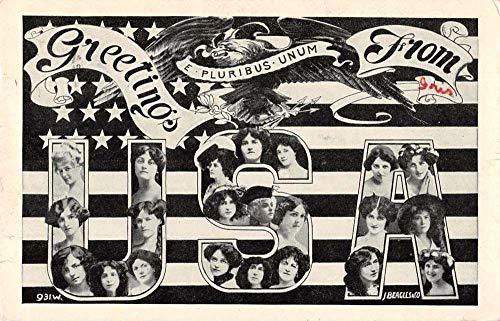 Greetings USA United States Large Letter Patriotic Ladies Postcard JF686348
