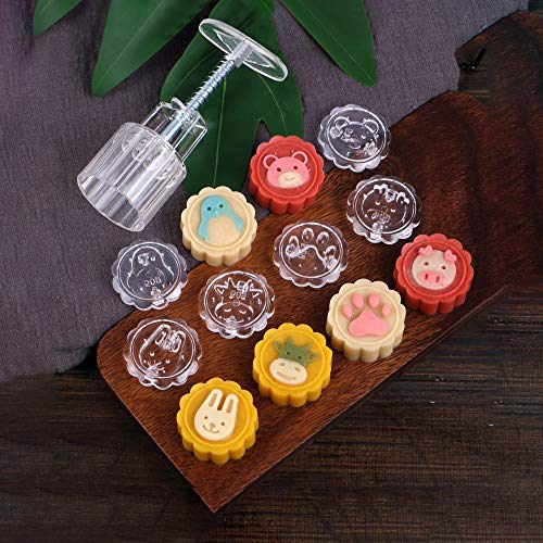 Mooncake Mold 50g, Hand Press Cookie Stamps Pastry Tool Moon Cake Maker with 6 Adorable Animal Patterns (Mooncake Press Mold)