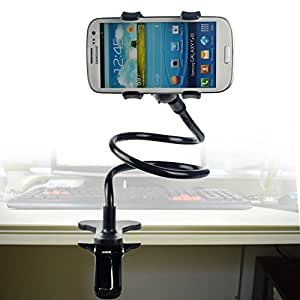 Universal Portable Rotated Hands Free Mobile Phone Mount Holder Lazy Bracket Stand for Bed,car, Desktop,chair with Mounting Clip - Support Apple Iphone 4/4s/5/5s Samsung Galaxy S2/s3/s4/s5 HTC Nokia Lg Blackberry Phone Wide Less Than 4.92 Inch (BLACK)