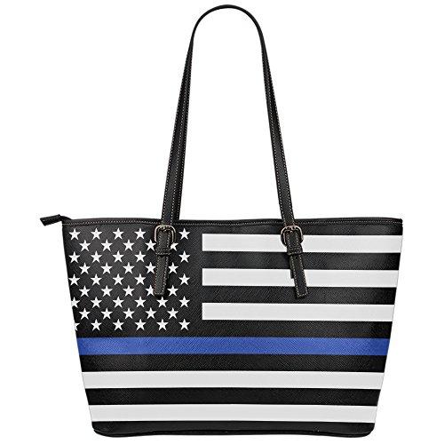 Printed Kicks Thin Blue Line Large Leather Tote Bag Police Wife Handbag Travel by Printed Kicks
