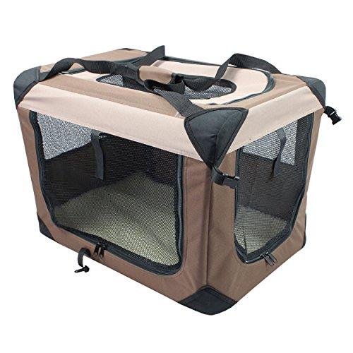 Iconic Pet Multipurpose Pet Soft Crate with Fleece Mat, Coffee/Khaki, Large