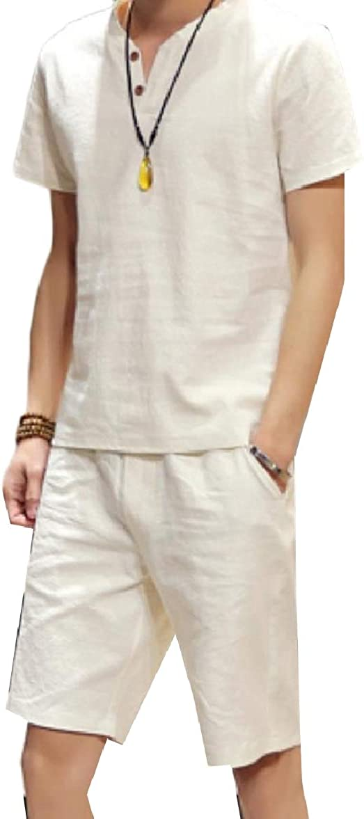 Tootless-Men Linen Short Sleve 2-Piece Comfort Half Pants Tunic Shirt