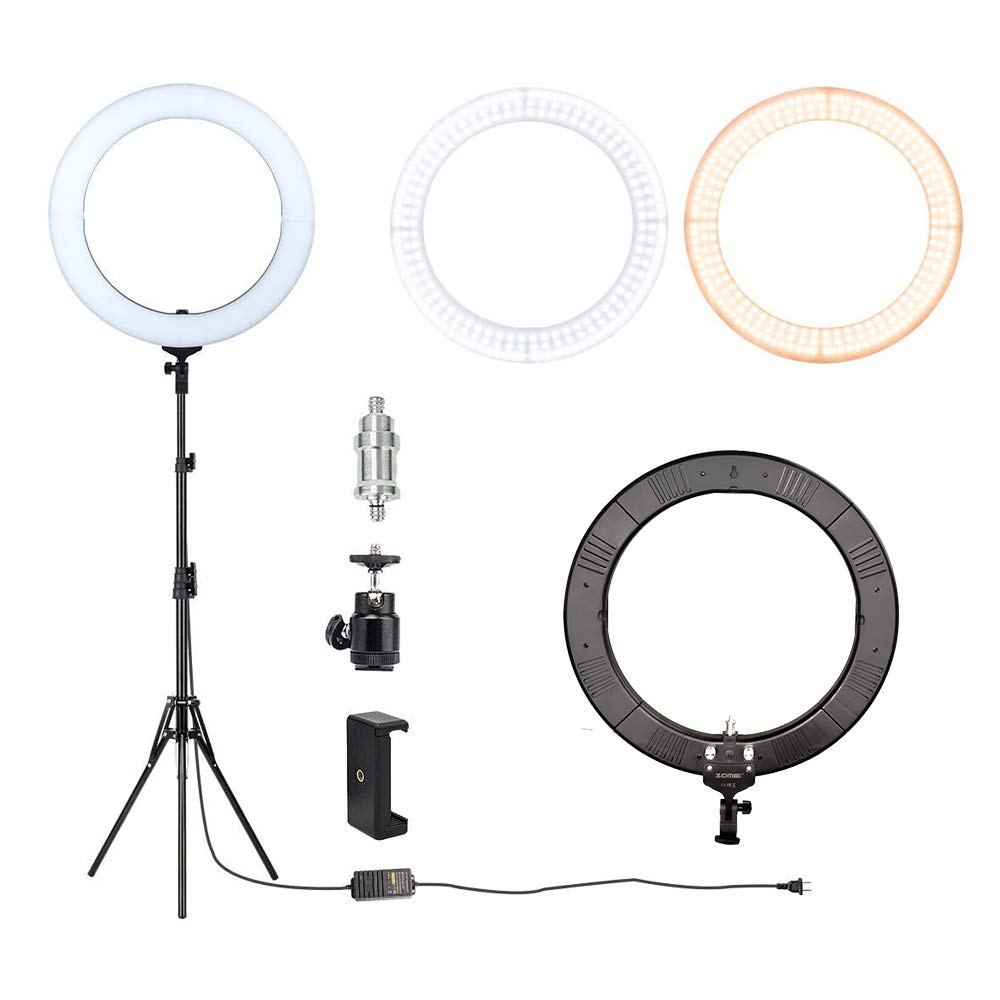 ZOMEi 18'' Dimmable LED Ring Light for Makeup Selfie Photographic Ring Light