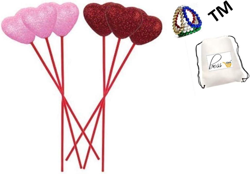 Valentines Day 8/½ Valentines Red Glitter Foam Heart Picks Set of 7