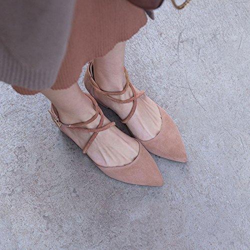 Sandali Baotou Rosa con scarpe 35 4cm Alla Da AJUNR calzature Donna Moda bretelle incrociate gwqdHgF1