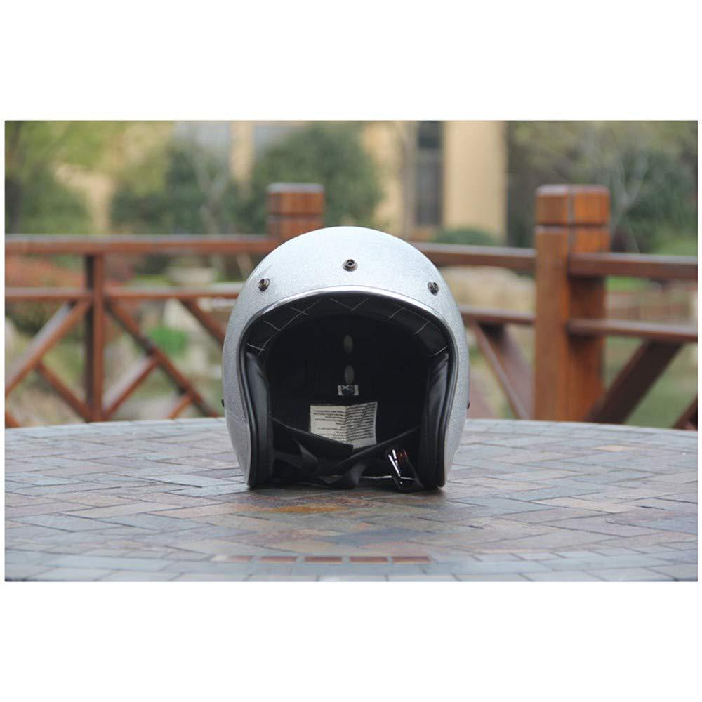 Casco Moto Casco Mezzo Casco Retro Casco da Uomo con Visiera UV Occhiali di Protezione Retro Vintage Stile Certificazione ECE//DOT 53-60cm