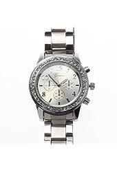 Silver Geneva Crystal Rhinestone Chronograph Watch with Metal Link Band