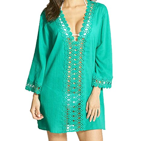 Aprilley Women's Swim Essential Solid Hollow Covers Up Sun Beach Green S