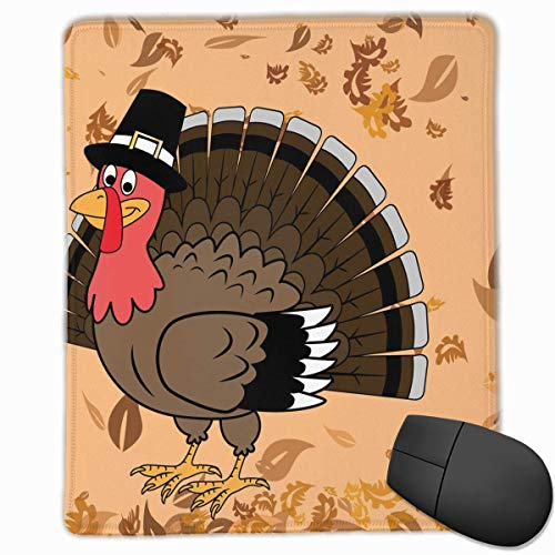 Thanksgiving Falling Leaves Turkey Quality Comfortable Game Base Mouse Pad with Stitched Edges]()