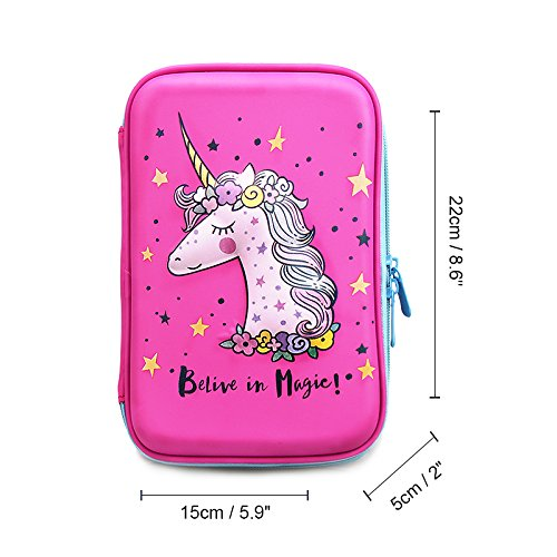 Unicorn Pencil Case by JoJo Kids Cute Pencils Holder | Large Size Crayon Box with Compartments for Girls Keep Kids School Supply Well Organized by Jojo Kids (Image #3)
