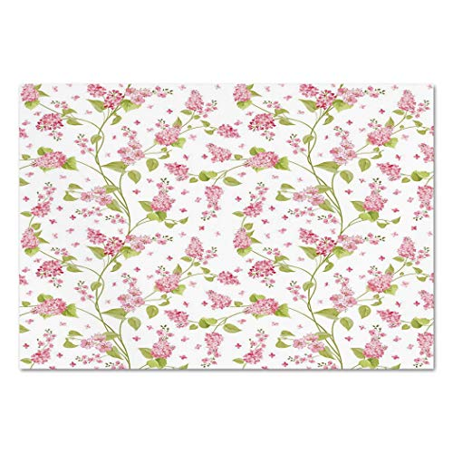 Large Wall Mural Sticker [ Shabby Chic,Nature Blossoms Buds Flowers Lavenders Florals Leaves Ivy Artwork,Pink White and Green ] Self-adhesive Vinyl Wallpaper / Removable Modern Decorating Wall ()