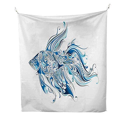 FishtapestryAbstract Betta Splenden in Shades of Blue with Bohemian Pattern Swirling Effect 40W x 60L inch Wall tapestryBlue Azure Blue