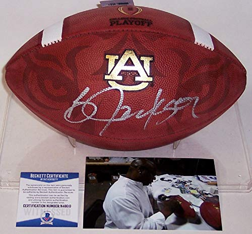 (Bo Jackson Autographed Hand Signed Official Auburn NCAA Game Model Full Size Leather Football - BAS Beckett)