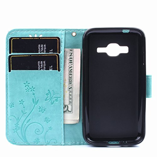 Yiizy Samsung Galaxy J1 Mini Prime / J106F Funda, Hierba FlorDesign Premium PU Leather Slim Flip Wallet Cover Bumper Protective Shell Pouch with Media Kickstand Card Slots (Verde De)