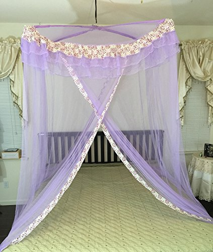 Decorative Canopy - Octorose Poles Cross Top Bed Canopy Functional Mosquito Insect Netting Queen, King and Cal King Bed (Purple)