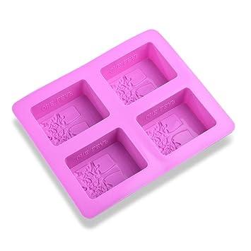 MUXItrade Molde de silicona para jabones, patrón rectangular con árbol de la vida(4