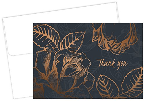 Copper Flowers Thank Note Cards