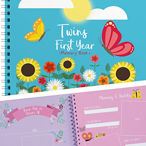 Twins First Year Hardcover Memory Book Butterfly Edition - Newborn Babies 1st Year Journal and Milestones Photo Album - Perfect and Unique Gift Idea for Baby Showers and Birthday Presents