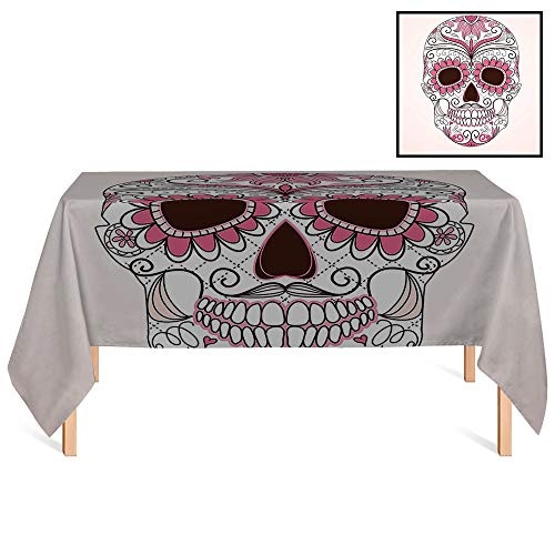 - SATVSHOP Washable Tablecloth /55x86 Rectangular,Sugar Skull Mexican Ornaments Calavera Catrina Inspired Folk Art Macabre Pink Light Pink White.for Wedding/Banquet/Restaurant.
