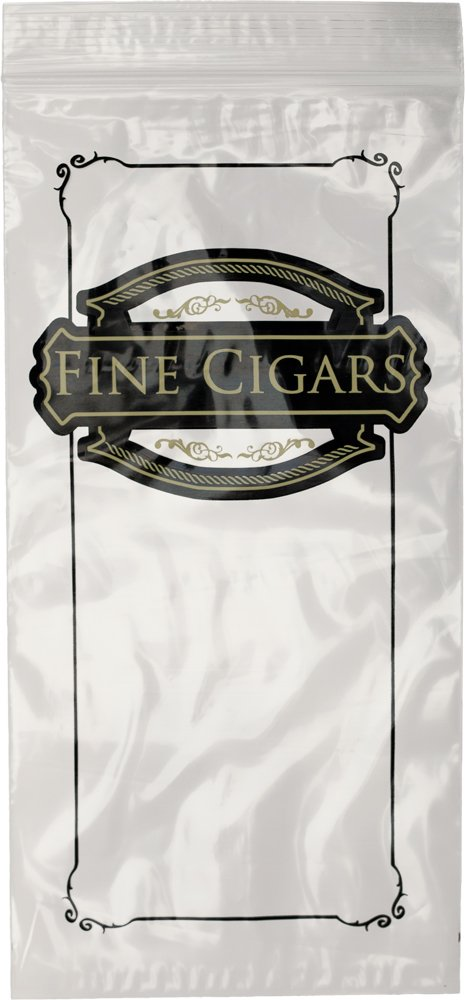 Interplas CZCIGAR Cigar Bags - Ziplock Bags Printed''Fine Cigars'', 10'' Length, 5'' Width (Case of 1000)