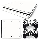 ZoomHit Ps4 Slim Playstation 4 Slim Console Skin Decal Sticker White Classic + 2 Controller Skins Set (Slim Only) For Sale