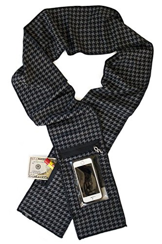 Peepsnake Smart Phone Scarf or ID Holder, Clear Touch Pocket, Back Window, Xtra Pouch, Houndstooth