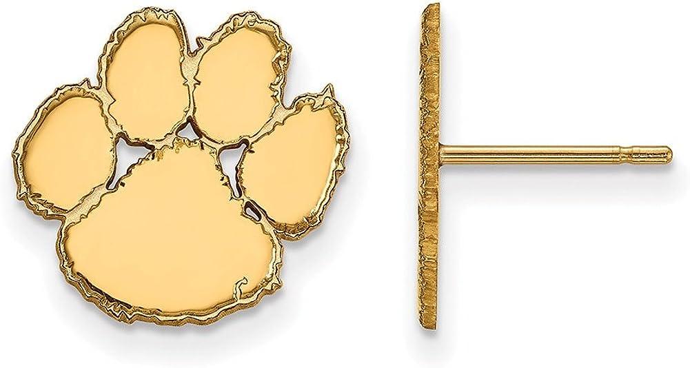 Lex /& Lu LogoArt Sterling Silver w//GP Clemson University Small Post Earrings