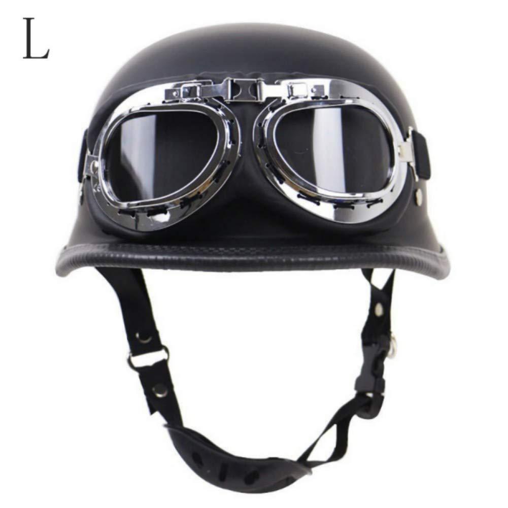 Iswell Vintage Motorcycle Motorbike Scooter Half Leather Helmet With Free Goggles Motorbike Helmet