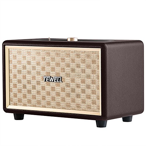 TEWELL AC Powered Bluetooth Speakers - Retrorock 24W Wireless Speaker with Powerful Bass, 33-Foot Bluetooth Range and Stereo Sound for Cellphone, Projector, Turntable, Bookshelf, Desktop(Brown)