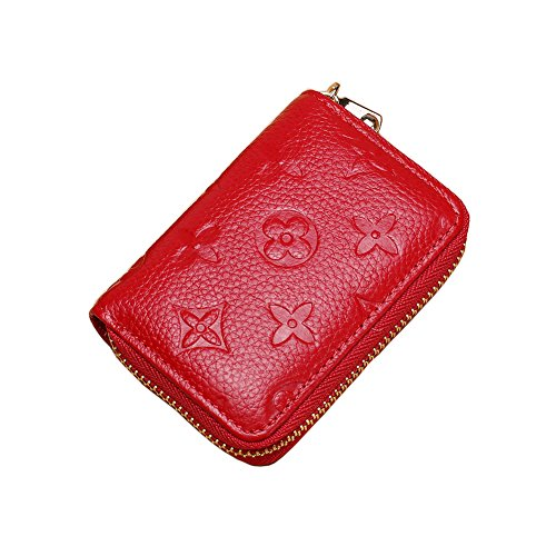 Women RFID Blocking Credit Card Holder Wallet Men Leather Multi Zipper Purse (red)