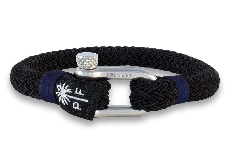 """'Palm & Fins® """"Deus de pulsera para hombre negro/azul de alta calidad Nylon y Acero inoxidable"""