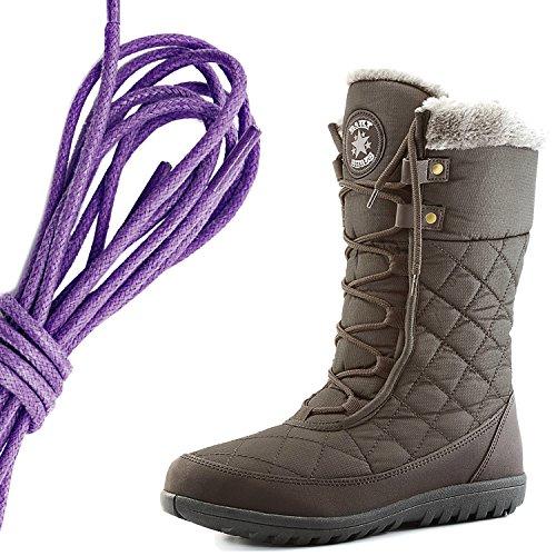 Dailyshoes Confort Des Femmes Bout Rond Mi-mollet Cheville Plat Haute Eskimo Fourrure Dhiver Bottes De Neige, Violet Marron