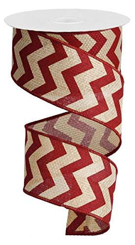 Chevron Cross Royal Burlap Wired Edge Ribbon - 2.5