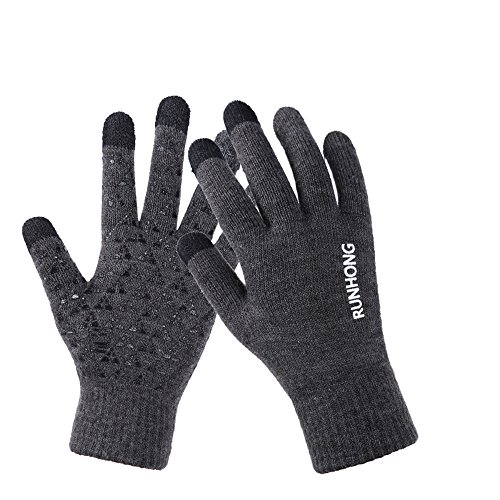 Gray Knit Glove (Womens&Mens Knit Anti-Slip Touchscreen Gloves Winter Warm Wool Lined Texting Gloves, Gray, Large)